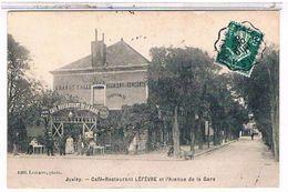 91 JUVISY   CAFE   RESTAURANT  LEFEVRE  ET  L AVENUE  DE  LA  GARE + TAMPON    TBE  1Y44 - Juvisy-sur-Orge