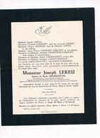 Joseph LEKEU 1875 1949 époux De Barbe DELBUSHAYE  Herve - Obituary Notices