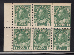 Canada 1911-25 MH Scott #104a 1c Admiral Pane Of 6 Re-entry - Pages De Carnets