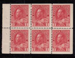 Canada 1911-25 MNH Scott #106a 2c Admiral Pane Of 6 - Pages De Carnets