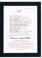 Joseph DEWEZ 1871 1964 2poux De ... Battice Liège - Obituary Notices