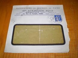 Enveloppe Commerciale Boutons De Nacre Mme Atkinson Petit à Bernaville & Paris. Cachet Amiens Gare Sur 65c Paix Seul - France