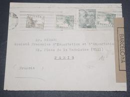 ESPAGNE - Enveloppe Pour Paris En 1945 Avec Censure De Barcelone - L 12282 - Marcas De Censura Nacional