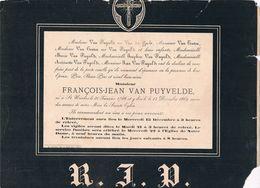 François- Jean VAN PUYVELDE 1788 1889 époux De ... VAN GACHT  St. Nicolas - St. Niklaas - Obituary Notices