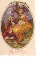 FANTAISIE--JOYEUSES PAQUES--( Fleurs )---couple D'amoureux--voir 1 Scan - Easter