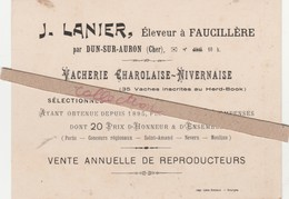 - CARTE J. LANIER, Eleveur à FAUCILLERE Par DUN-SUR-AURON - 002 - Mappe