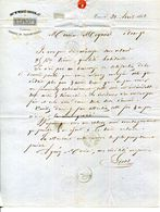 37.INDRE & LOIRE.TOURS.FABRIQUE DE PASSEMENTERIES.LECAT.TIMBBRE & CACHET 1862. - Textile & Clothing