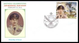 2012 Pakistan Birthday Celebrations Of Air Marshal Nur Khan FDC - Pakistan