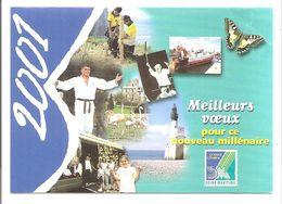 Petit Calendrier 2001 - Conseil Général Seine-Maritime (David Douillet, Zoo De Clères, Phare, Papillon...) - Calendars