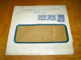 Enveloppe Commerciale Vienne,Isère;Sté Générale De Force Et Lumière; Paire 10c Mercure & 1,30f Iris , Vienne 1942 - France