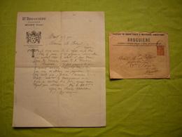 Facture + Enveloppe Illustrées 1902 Bruguière Draps Civils Et Militaires à Muids Et Clermont L'Hérault - Textile & Clothing
