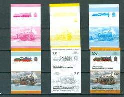 ST. VINCENT Union Island 10c LOCOMOTIVES COLOR TRIALS Imperforate MNH WYSIWYG  A04s - Trains