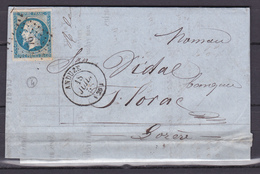 D805/ NAPOLEON N° 14 SUR LETTRE - 1853-1860 Napoléon III