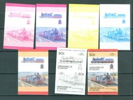 ST. VINCENT Grenadines 50c LOCOMOTIVES COLOR TRIALS 7 Pairs Imperforate MNH WYSIWYG  A04s - Trains