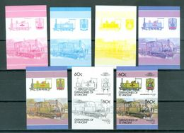 ST. VINCENT Grenadines 60c LOCOMOTIVES COLOR TRIALS 7 Pairs Imperforate MNH WYSIWYG  A04s - Trains