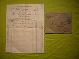 Facture + Enveloppe Illustrées 1891 H. Michel Aîné Sucres Et Cafés à Marseille - France