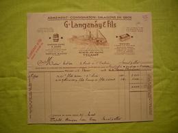 Facture Illustrée 1952 G. Langanay & Fils Armement Consignation Salaisons à Fécamp - France
