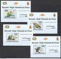 S963 2011 BURUNDI FAUNA BIRDS PERROQUETS PARROTS !! 4 LUX BL MNH - Perroquets & Tropicaux