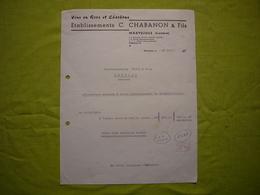 Facture Illustrée 1960 Chabanon & Fils Vins En Gros Charbon à Marvejols Lozère - France