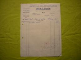 Facture Illustrée 1963 Mialanes Matériaux De Construction à Banassac Lozère - France