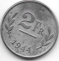 Belguim  Leopold III  2 Francs  1944    Xf+++ !!! - 1934-1945: Leopold III