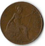 Pièce De Monnaie  1 Penny 1908 - 1902-1971 : Post-Victorian Coins