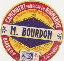 ETIQUETTE  DE  CAMEMBERT  VIEUX LOGO SVCN BOURDON BARBERY - Fromage