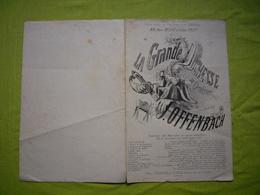 Partition 19ème Illustrée La Grande Duchesse Musique De J. Offenbach Au Théatre Des Variétés - Partituren