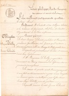 ACTE NOTARIE DU 11 AVRIL 1844 OBLIGATION DE 400 FRANCS A BATZ - Manoscritti