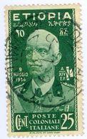 ETIOPIA, COLONIA ITALIANA, ITALIAN COLONY, VITT. EM. III, 1936, FRANCOBOLLO USATO, 25 C. Michel 3   Sass. 3 - Etiopia