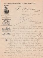 Facture 1911 / F. RENOUX / Fabrique Voitures / Moteurs Verticaux / Cycles / 03 Gipcy / Allier - France