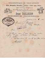 Facture 1923 / André TAILLASSON / Charronage / Cycles Motos Machines à Coudre / 17 Brizambourg / Charente Maritime - France