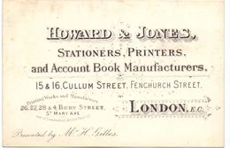 Visitekaartje - Carte Visite - Howard & Jones - Stationers Printers - London - Cartes De Visite