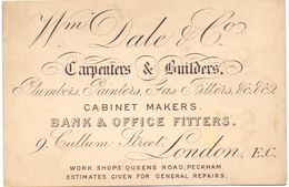 Visitekaartje - Carte Visite - Carpenter & Builders Cabinet Makers - Wm Dale & Son - London - Cartes De Visite