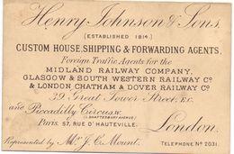 Visitekaartje - Carte Visite - Custom House - Shipping Agents - Henry Johnson & Sons  - London - Visiting Cards