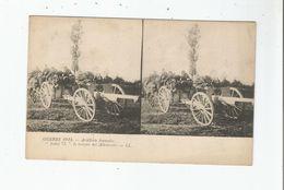 """GUERRE 1914 ARTILLERIE FRANCAISE  """"NOTRE 75 """" LA TERREUR DES ALLEMANDS (CARTE STEREOSCOPIQUE AVEC MILITAIRES) - Weltkrieg 1914-18"""