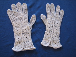 25 - Gants Anciens Au Crochet, Taille 6 - Moda & Accesorios