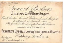 Visitekaartje - Carte Visite - Seaward Brothers - Carriers & Wharfingers - Wharves  - London - Cartes De Visite