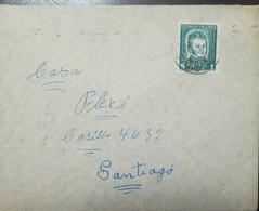 O) 1952 CHILE, AMBULANCIA MAIL N°80, BERNARDO O'HIGGINS 1 PESO BLUE GREEN, TO SANTIAGO, XF - Chile