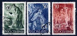 YUGOSLAVIA 1953 United Nations: Frescoes, Used.  Michel 714-16 - 1945-1992 Socialist Federal Republic Of Yugoslavia