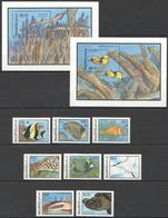 S980 MALDIVES WWF FISH & MARINE LIFE !!! 2BL+1SET MNH - Fishes