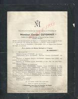 FAIRE PART DE DECÉ Mr GEORGES GUYONNET PRESIDENT SOCIETE HISTORIQUE DU RAINCY L INHUMATION CIMETIERE DE GAGNY À LAGNY - Obituary Notices