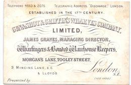 Visitekaartje - Carte Visite - Gun & Shot & Griffin's Wharves Company - London 1891 - Cartes De Visite
