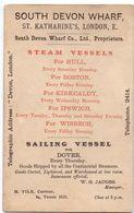 Visitekaartje - Carte Visite - Souyh Devon Wharf  - London - Steam Vessels - Cartes De Visite