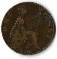 Pièce De Monnaie 1 Penny 1910 - 1902-1971 : Post-Victorian Coins