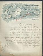 LETTRE ILLUSTRÉE COMMERCIALE DE 1915 A SÉBIROT CONFISERIE MODERNE SUCRE DE POMMES DE ROUEN MONTÉLIMAR ANGE À LAGNY : - France