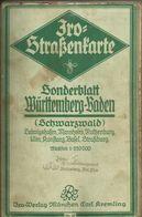 Iro - Straßenkarte Nr. 21 Württemberg-Baden Leinen Ca. 1,20mx 80cm Sehr Alt - Roadmaps