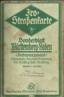 Iro - Straßenkarte Nr. 21 Württemberg-Baden Leinen Ca. 1,20mx 80cm Sehr Alt - Strassenkarten
