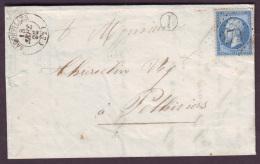 """MEURTHE - LAC - Tàd T15 BADONVILLER (1866) + GC 279 Sur N° 22 + BR """"I"""" (Pexonne, Identifiée) Pour Pithiviers (43) - Marcophilie (Lettres)"""