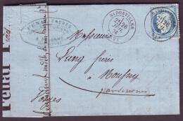 MEURTHE - LAC - Tàd T17 BADONVILLER  (1876) Sur N° 60 Pour Moussey (82) - Marcophilie (Lettres)